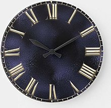 Round Wooden Wall Clock, Roman Number Blue Navy