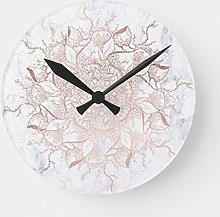 Round Wooden Wall Clock, Rose Gold Floral