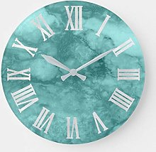 Round Wooden Wall Clock, Teal Aqua Blue Gray
