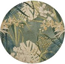 Round woven jacquard rug with green plant print