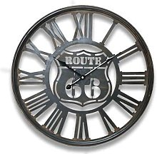 Route 66 Clock 50cm , Made From Distressed Metal,