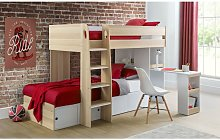 Roxie Wooden Bunk Bed - Storage & Pull Out Desk -