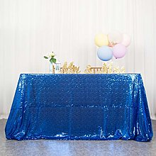 Royal Blue Sequin Tablecloth Rectangle 60x102-Inch