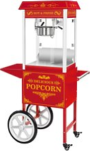 Royal Catering Popcorn Maker with trolley - Red