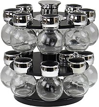 Royal Cuisine 16 Glass Round Jar Revolving Spice