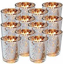 Royal Imports Silver Mercury Glass Votive Candle