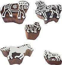 Royal Kraft Animal Wooden Printing Stamps (Set of