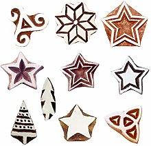 Royal Kraft Star Wooden Printing Stamps (Set of