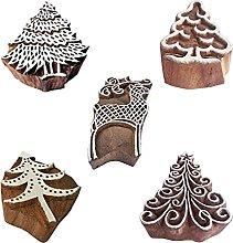 Royal Kraft Tree Wooden Printing Stamps (Set of 5)