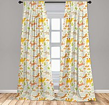 Royal Legacy Safari 2 Panel Curtain Set,Kids Nursery with Happy Zoo Animals Smiling and Jumping Cartoon Style,Window Treatment Living Room