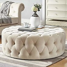 Royal Round Tufted Ottoman Coffee Table - Linen