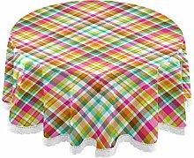 Royal Stewart Tartan Grid Round Linen Tablecloth