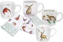 Royal Worcester Set of 4 Wrendale Christmas Mugs &