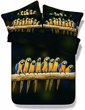 RoyalLinens 3 pieces macaw print bed sheets black