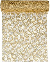 RP RIBBON Luxury Gold Metallic Lace Look Table