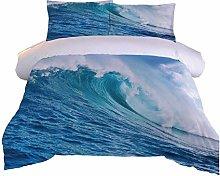 RQXRTR Duvet Cover Single Bed 3 Pieces 3D Blue