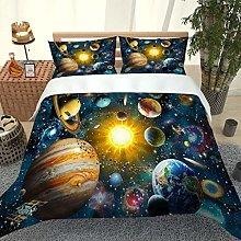 RQXRTR Duvet Cover Single Bed 3 Pieces 3D Cosmic
