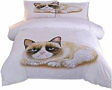 RQXRTR Duvet Cover Single Bed 3 Pieces 3D Cute Cat