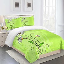 RQXRTR Duvet Cover Single Bed 3 Pieces 3D Green