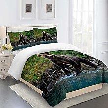 RQXRTR Duvet Cover Single Bed 3 Pieces 3D Jungle