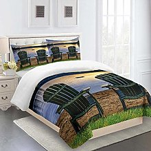 RQXRTR Duvet Cover Single Bed 3 Pieces 3D Sunset