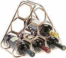 RTA 6 Bottle Rimmed Hexagon Metal Wine Rack - Rose