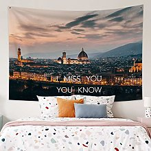 RTEAQ Tapestry City Scene Printed Wall Tapestry