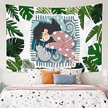 RTEAQ Tapestry Girl Cat Green Plants Leaf Tapestry