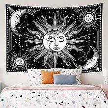 RTEAQ Tapestry White Black Sun Moon Mandala
