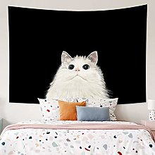RTEAQ Tapestry White cat abstract printed wall