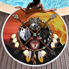Rtisandu Beach Towels Round Indian Wolf