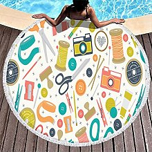 Rtisandu Beach Towels Round Scissors Ruler Pencil