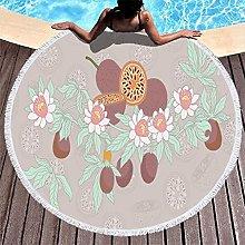 Rtisandu Beach Towels Round Tropical Flower Plants