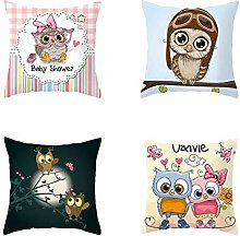 RuaRua Set Of 4 Pillow Covers,Branch Pattern,Owl