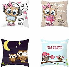 RuaRua Set Of 4 Pillow Covers,Gift Pattern,Owl