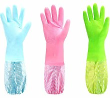 Rubber Cleaning Gloves Waterproof Flock Lining