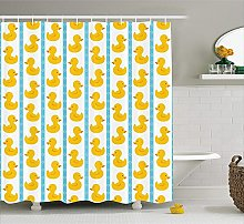 Rubber Duck Shower Curtain Set Yellow Duckies with