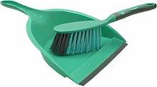 Rubber Grip Dustpan and Bristle Brush Set,