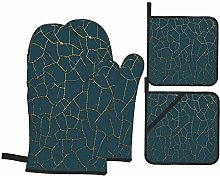 RUBEITA Oven Mitts and Pot Holders Sets of 4,Gold