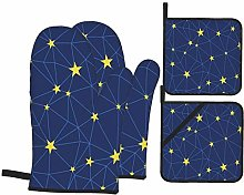 RUBEITA Oven Mitts and Pot Holders Sets of 4,Stars