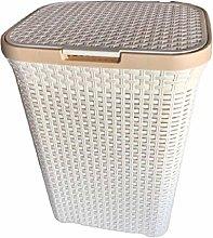 Ruby Deals 65L Plastic Laundry Basket Rattan Style