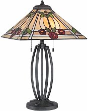 Ruby lamp, bronze and Tiffany glass