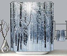 Rubyia 180x180 Shower Curtain, Snow Scene Forest