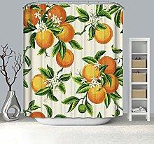 Rubyia 180x200 Shower Curtains, Orange 3D Printed
