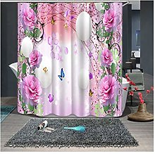 Rubyia Extra Wide Shower Curtain, Pink Flower