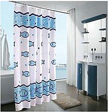 Rubyia Printed Shower Curtain, Fish 3D Pattern