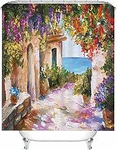 Rubyia Shower Curtain 120, European Town Painting