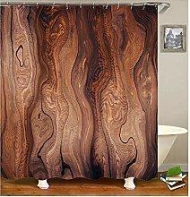 Rubyia Shower Curtains Bathroom, Wood Grain 3D
