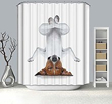 Rubyia Shower Curtains Waterproof, Inverted Dog 3D