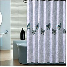 Rubyia Washable Shower Curtain, Butterfly Printed